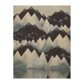 Impresión de madera de las montañas de la acuarela