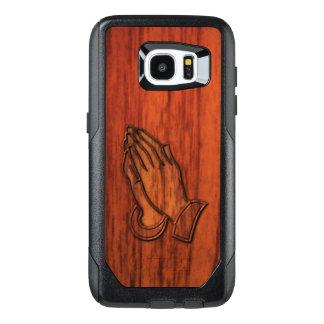 Impresión de madera de rogación de las manos funda OtterBox para samsung galaxy s7 edge