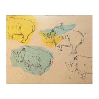 Impresión de madera del arte del rinoceronte
