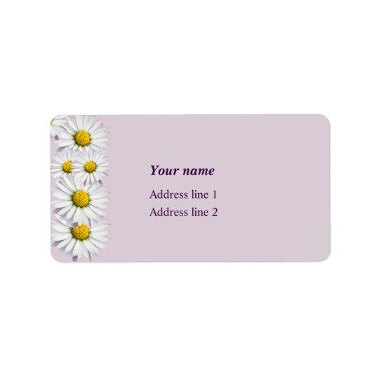 Impresión de margaritas amarillas y blancas etiquetas de dirección