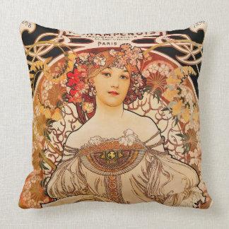 Impresión de Nouveau Mucha del arte del vintage Cojín Decorativo