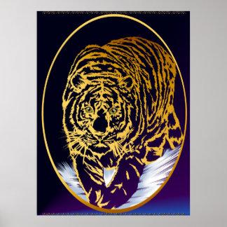 Impresión de oro del tigre de la nieve póster