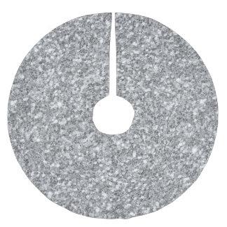 Impresión de plata de la textura del brillo falda para el árbol de navidad de poliéster