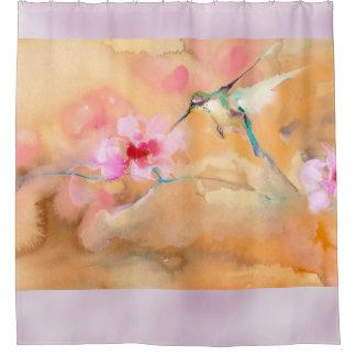 "Impresión de ""ruborización"" del colibrí cortina de baño"