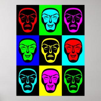 Impresión de teatro de las máscaras posters