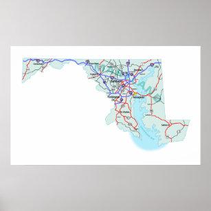 Impresión de un estado a otro del mapa de Marylan