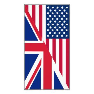 Impresión del americano y de la foto de la bandera