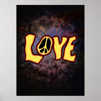 Impresión del amor del Hippie Posters