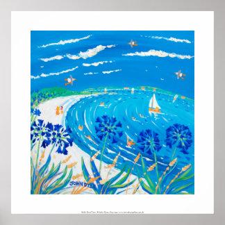 Impresión del arte: Agapanthus, playa de la bahía