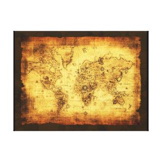 Impresión del arte del mapa de Viejo Mundo Lienzo Envuelto Para Galerías