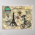 Impresión del arte del mapa del vintage de Bonjour Impresiones