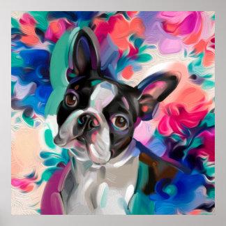 Impresión del arte del perro de Boston Terrier de