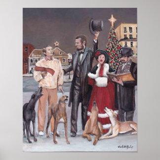 Impresión del arte del perro del galgo del navidad