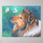 impresión del arte del perro pastor de Shetland de Póster