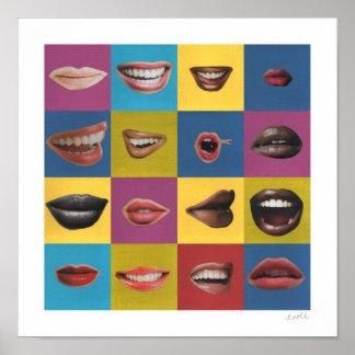 Impresión del arte pop del collage del labio con l poster