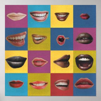 Impresión del arte pop del collage del labio impresiones