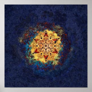 Impresión del azul del brillo de la estrella y del