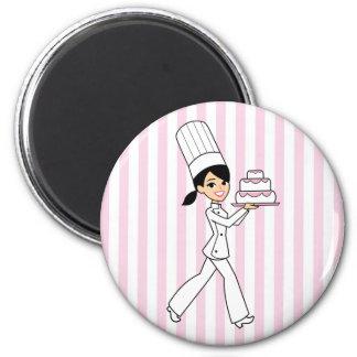 Impresión del cocinero del chica imán redondo 5 cm