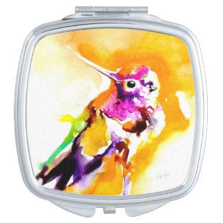 """Impresión del colibrí del """"Gorget magnífico"""" Espejos Compactos"""