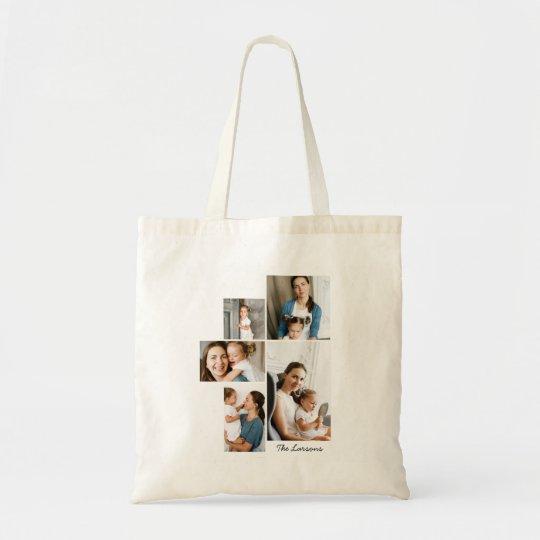 Impresión del collage de 5 fotos bolso de tela