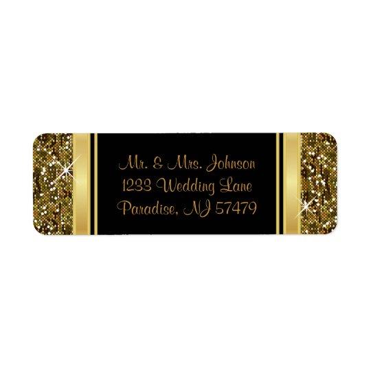 Impresión del confeti del brillo del oro etiquetas de remite