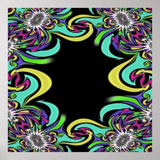 Impresión del fractal de los colores del arco iris póster