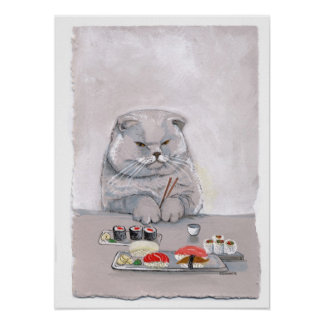 Impresión del gato del sushi - Sr. Grumps