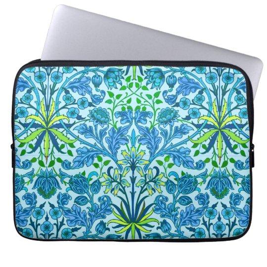 Impresión del jacinto de William Morris, azul Funda Para Portátil