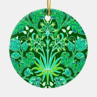 Impresión del jacinto de William Morris, verde Adorno De Cerámica