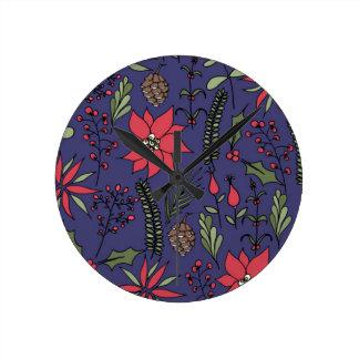 Impresión del jardín del navidad reloj redondo mediano