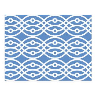 Impresión del kimono, azul de cielo y blanco postal