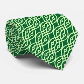 Impresión del kimono, oscuro y verde claro corbata personalizada