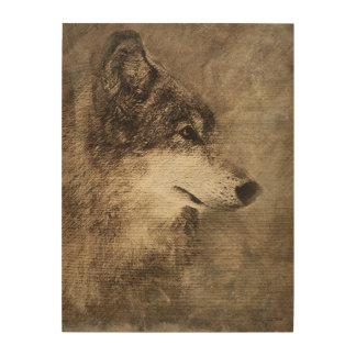 Impresión del lobo de madera en la madera de impresiones en madera