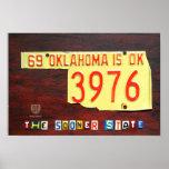 Impresión del mapa de la placa de Oklahoma Poster