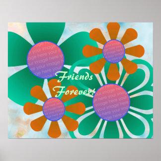 Impresión del marco de la foto de las flores de la póster