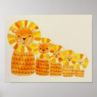Impresión del poster de cinco pequeña leones