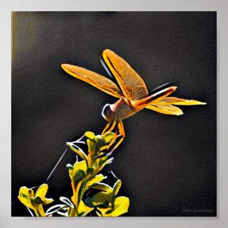 Impresión del poster de la lona de la libélula 7x7