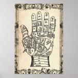 Impresión del poster de la mano del adivino de la