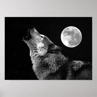 Impresión del poster del lobo gris y de la luna