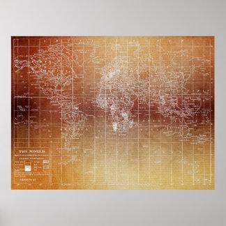 Impresión del poster del mapa del mundo del vintag