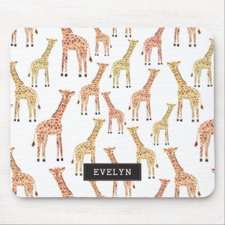 Impresión del safari de la jirafa alfombrilla de ratón