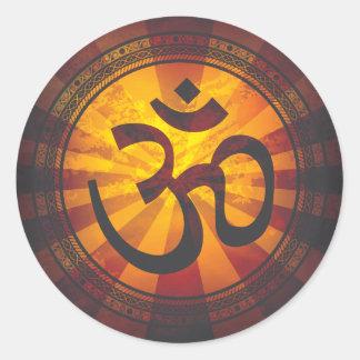 Impresión del símbolo de OM del vintage Etiqueta Redonda