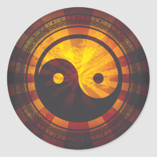 Impresión del símbolo de Yin Yang del vintage Pegatina Redonda