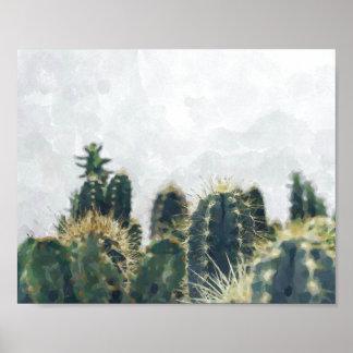 Impresión el | 10x8 del cactus de la acuarela
