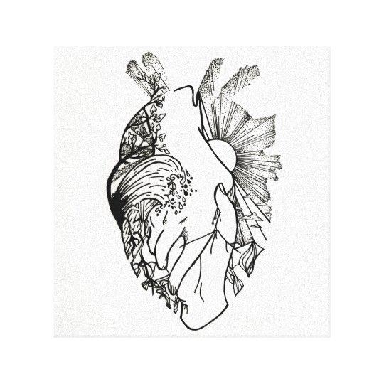 Impresión En Forma De Corazón Blanco Y Negro De La Zazzlees