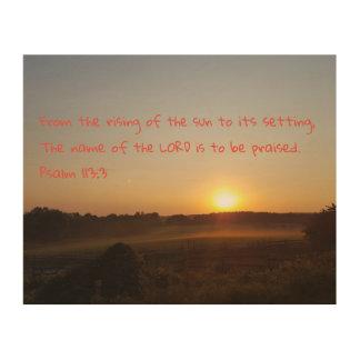Impresión En Madera 113:3 del salmo - del levantamiento del Sun…