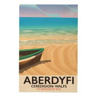 Impresión En Madera Aberdyfi, poster del viaje del vintage de