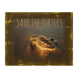 Impresión En Madera Ahorre las tortugas