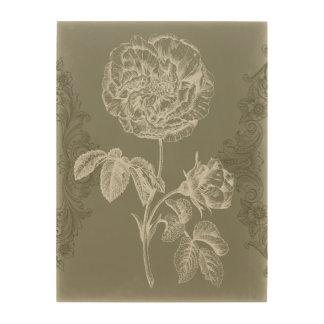 Impresión En Madera Alivio floral I