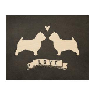 Impresión En Madera Amor de las siluetas de Norwich Terrier
